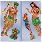 5' Hula Girl & Polynesian Guy Wall Add-Ons